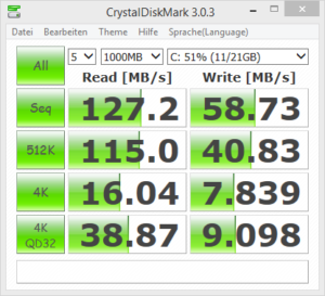 Plattenbenchmark mit Crystal Disk Mark