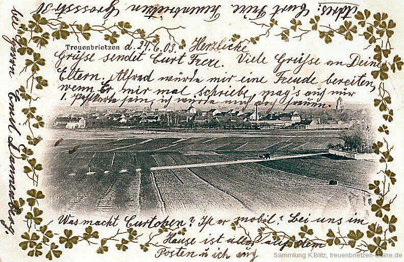 Blick vom Krähenberg auf Treuenbrietzen im Jahr 1903