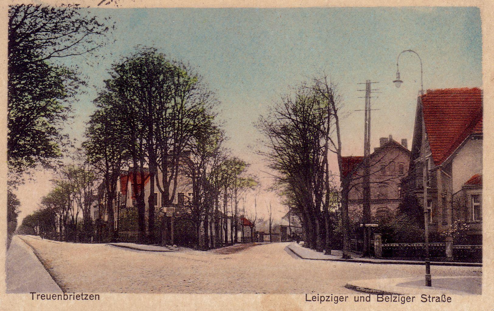 Leipziger- und Belziger Straße in Treuenbrietzen im Jahr 1935