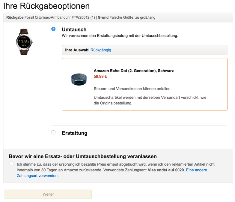 Amazon Rücksendung Echo Dot