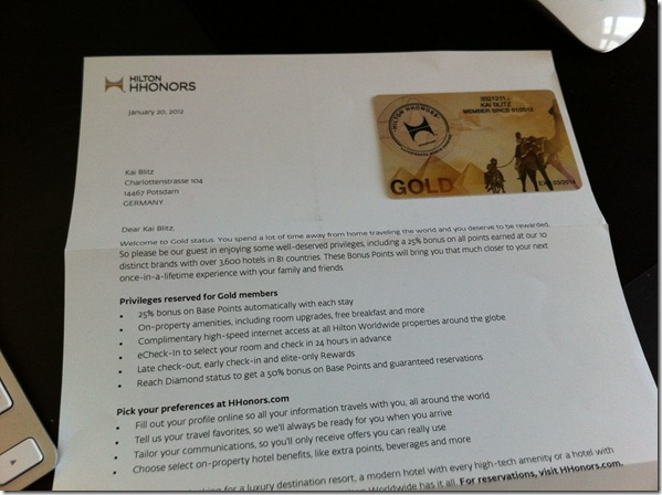 hilton hhonors gold card letter