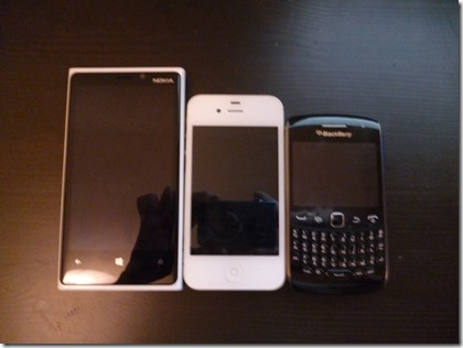 Nokia Lumia 920, Apple iPhone 4s, Blackberry Curve